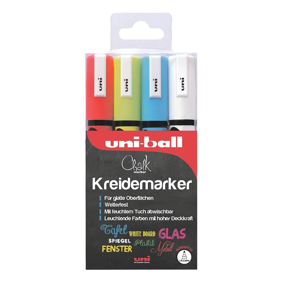 UNIBALL 4er-Pack Kreidemarker »uni Chalk PWE-5M«