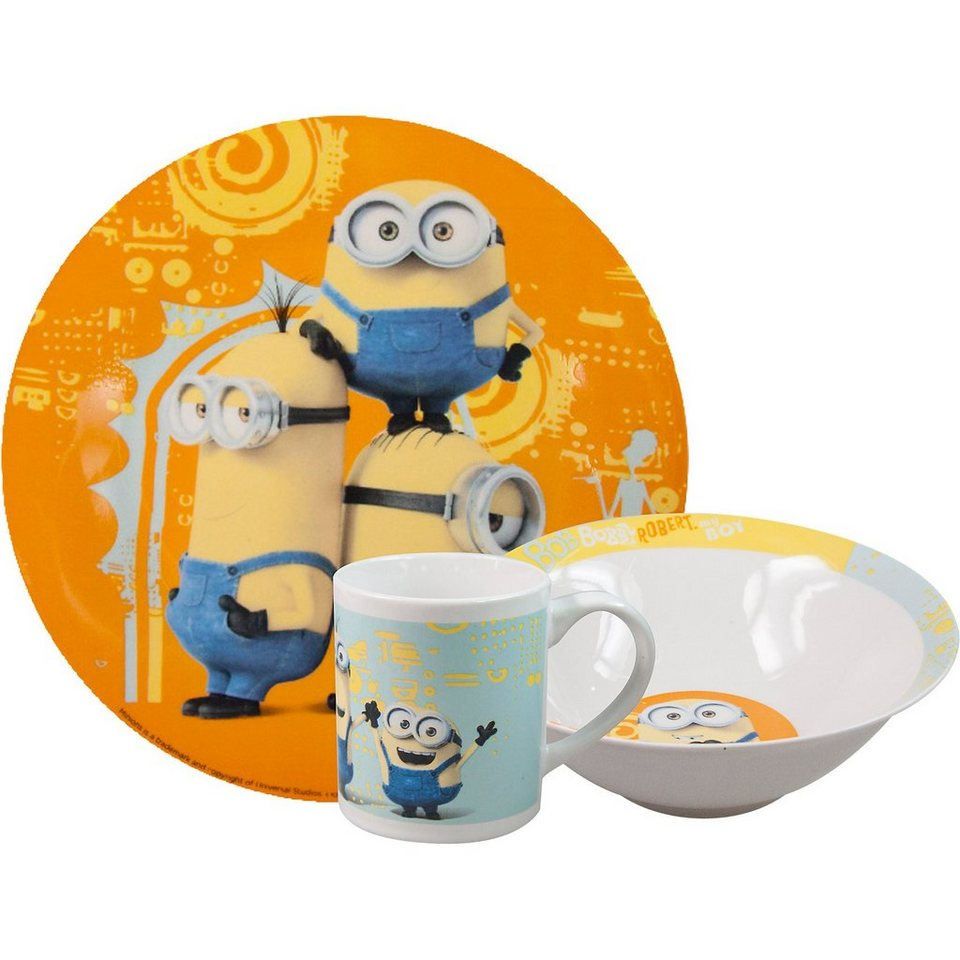 P:OS Kindergeschirr Keramik Minions, 3-tlg.