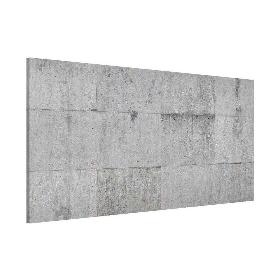 Bilderwelten Magnettafel Quer 37cm x 78cm »Beton Ziegeloptik grau« in Farbig