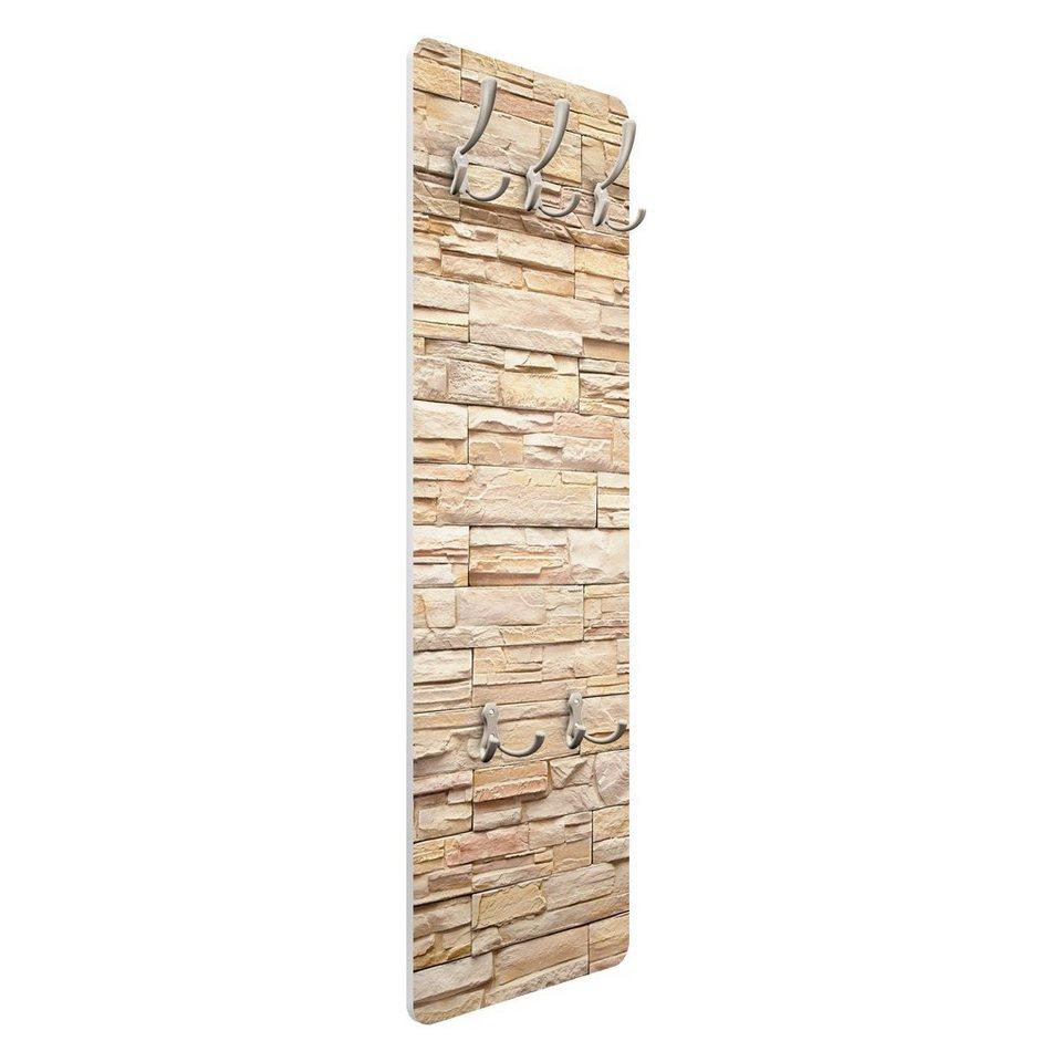 Bilderwelten Wandgarderobe 139x46x2cm »Steinoptik Asian Stonewall« in Beige