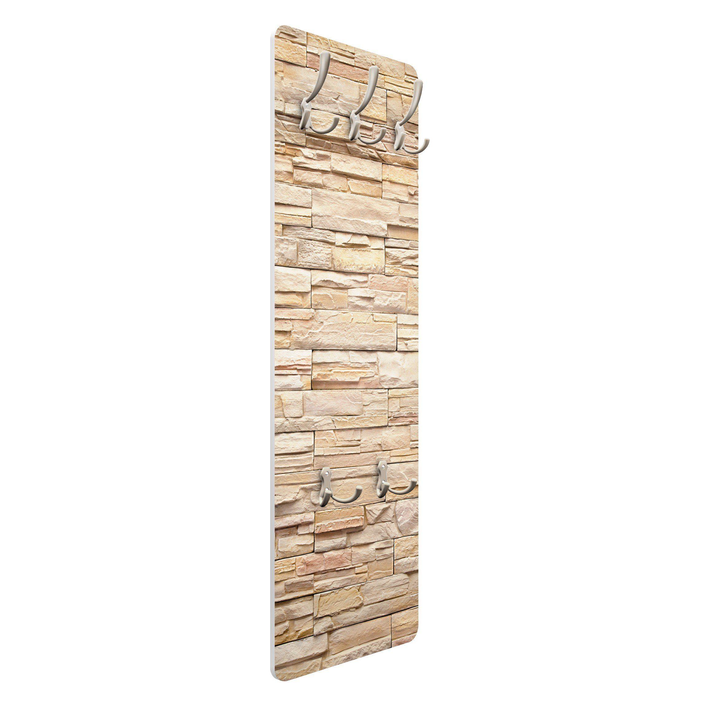 Bilderwelten Wandgarderobe 139x46x2cm »Steinoptik Asian Stonewall«