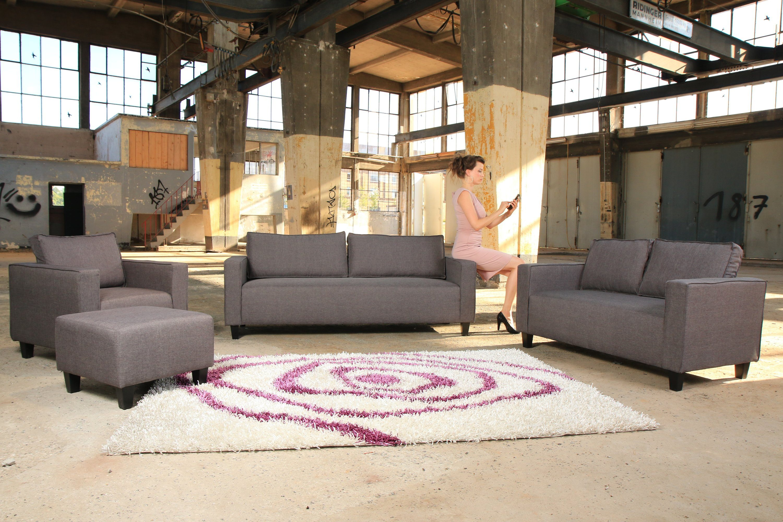 Kasper-Wohndesign Sofagarnitur Grau Stoff 2-Sitzer, 3-Sitzer, Sessel, Hocker »Fabric«