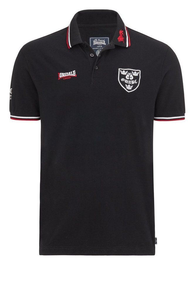 Lonsdale Poloshirt in Black/Dark Red/White