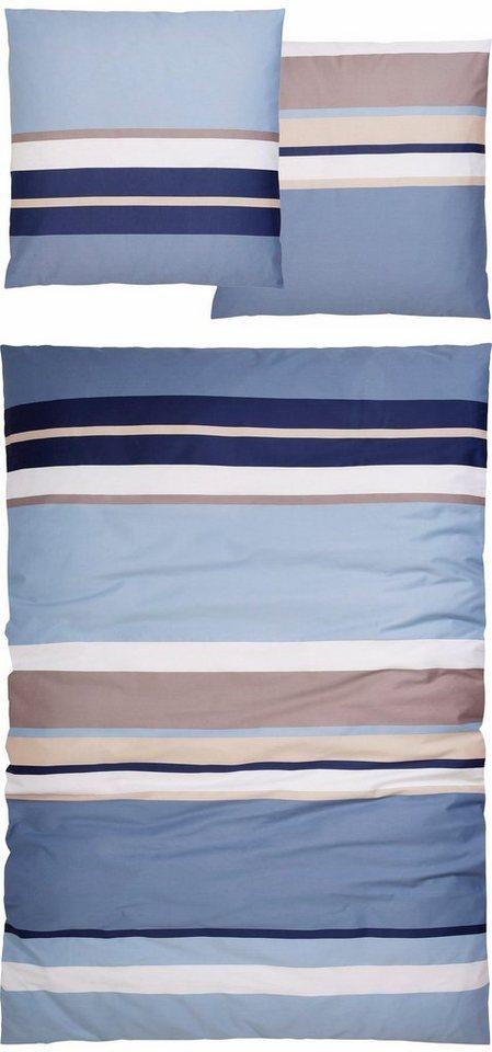 Bettwäsche, Casatex, »Duett«, mit Streifen in blau