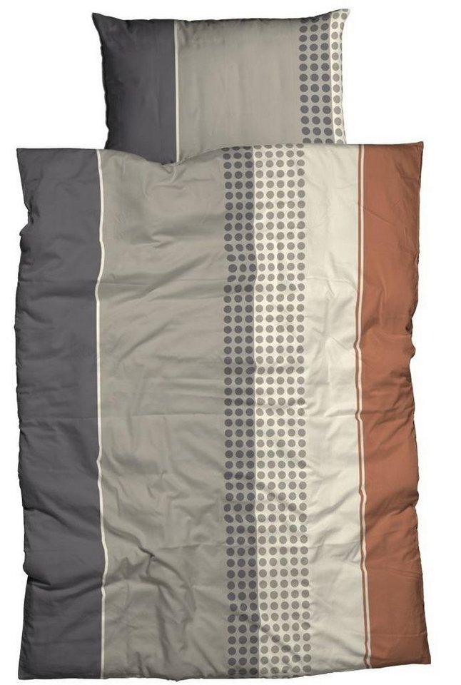 Bettwäsche, Casatex, »Renzo«, mit Streifen & Punkten in grau-braun