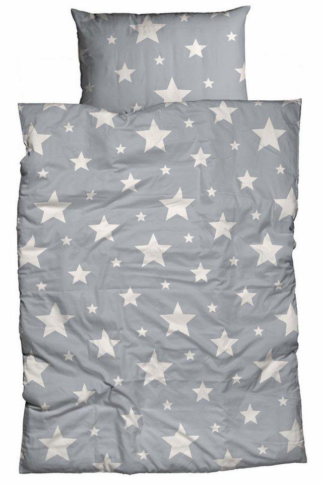 Bettwäsche, Casatex, »Sterne«, mit Sterne Muster in grau