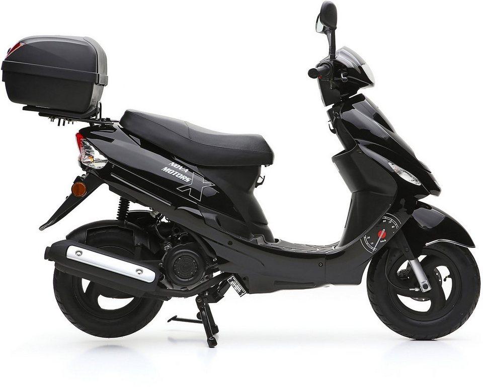 Nova Motors SET: Mofaroller inkl. Topcase, Faltgarage, Kettenschloss, 49-ccm, 25 km/h, »City Star« in schwarz