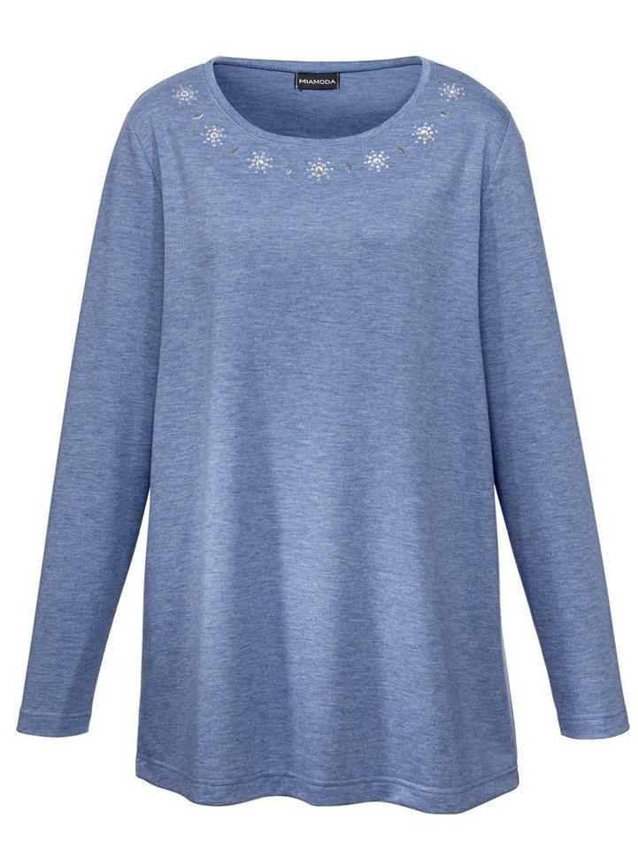 MIAMODA Shirt mit schmückenden Dekosteinen in hellblau