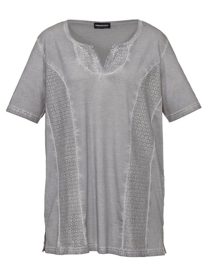 MIAMODA Shirt mit streckenden Ziernähten in grau