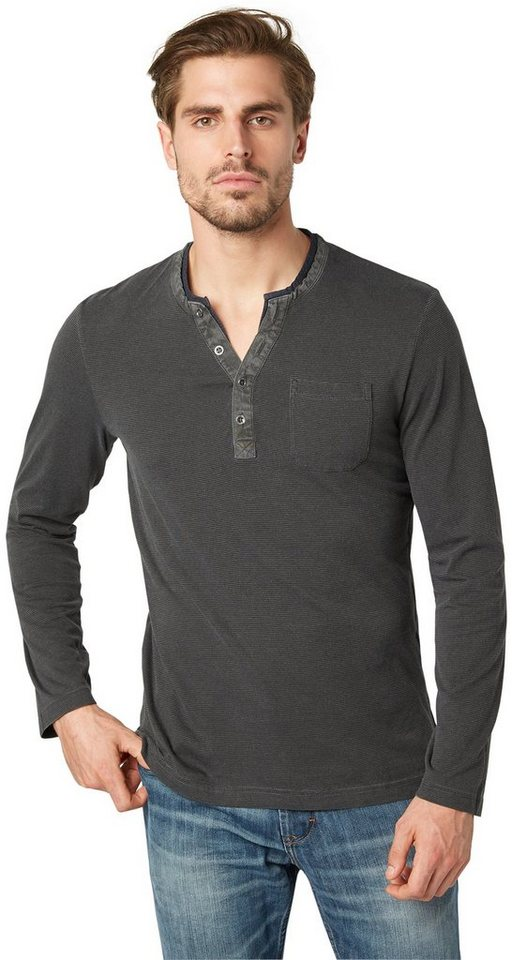 TOM TAILOR T-Shirt »Langarm-Shirt im Lagen-Look« in tarmac grey
