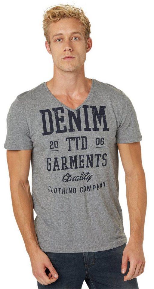 TOM TAILOR DENIM T-Shirt »T-Shirts mit Schrift-Print« in heather grey melange