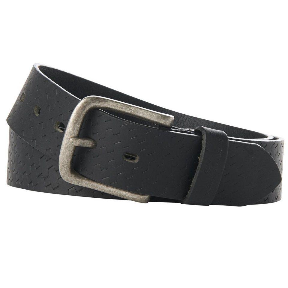 TOM TAILOR Gürtel »Ledergürtel mit Flecht-Muster« in black