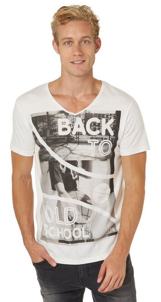 TOM TAILOR DENIM T-Shirt »cooles Foto-Print T-Shirt« in slightly creamy