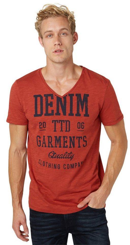 TOM TAILOR DENIM T-Shirt »slub TTD garments print tee« in burned red slate