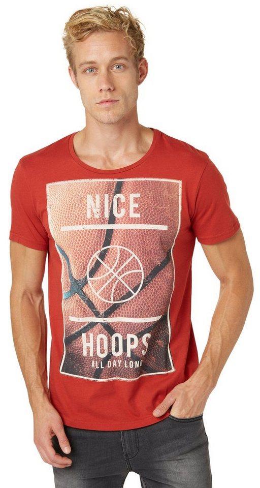 TOM TAILOR DENIM T-Shirt »basketball photoprint tee« in burned red slate