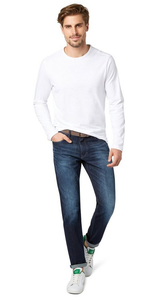 TOM TAILOR Jeans »Used-Jeans mit Gürtel« in stone blue denim
