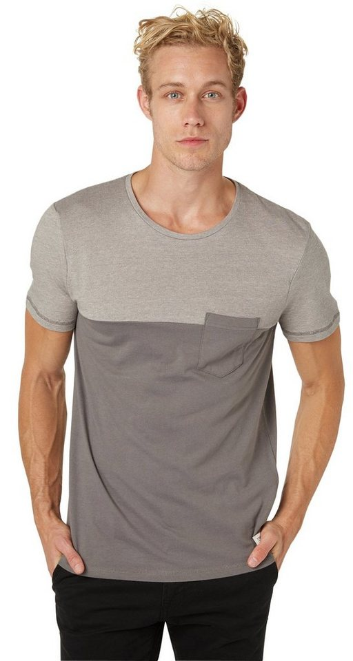 TOM TAILOR DENIM T-Shirt »pique with cut and sew« in somber grey