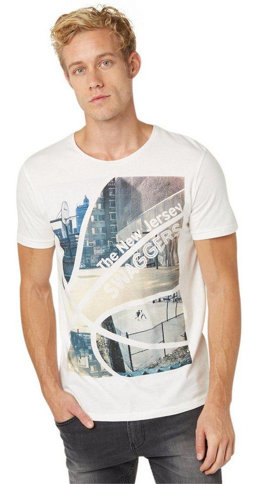 TOM TAILOR DENIM T-Shirt »T-Shirt mit Basketball-Foto-Print« in slightly creamy