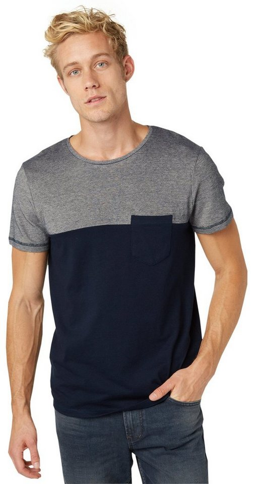 TOM TAILOR DENIM T-Shirt »T-Shirt im Material-Mix« in night sky blue