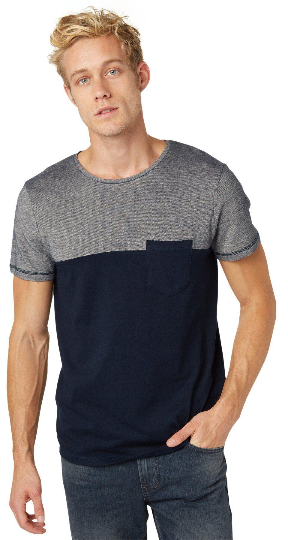 TOM TAILOR DENIM T-Shirt »T-Shirt im Material-Mix«