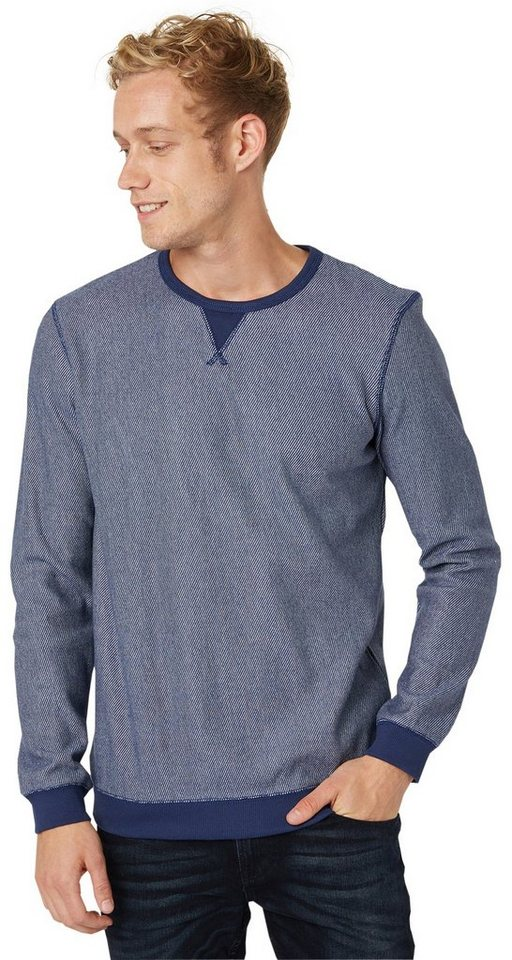 TOM TAILOR DENIM Sweatshirt »Pullover mit feiner Struktur« in cosmos blue