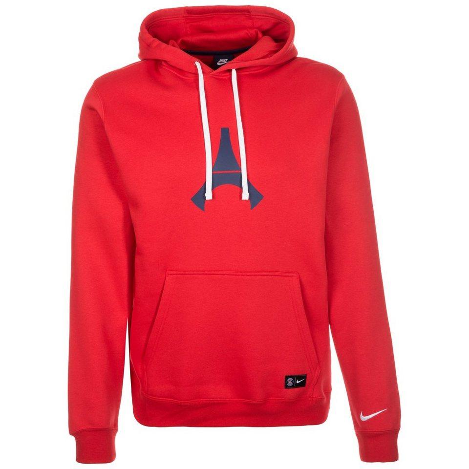 NIKE Paris Saint-Germain Kapuzenpullover Herren in rot / weiß