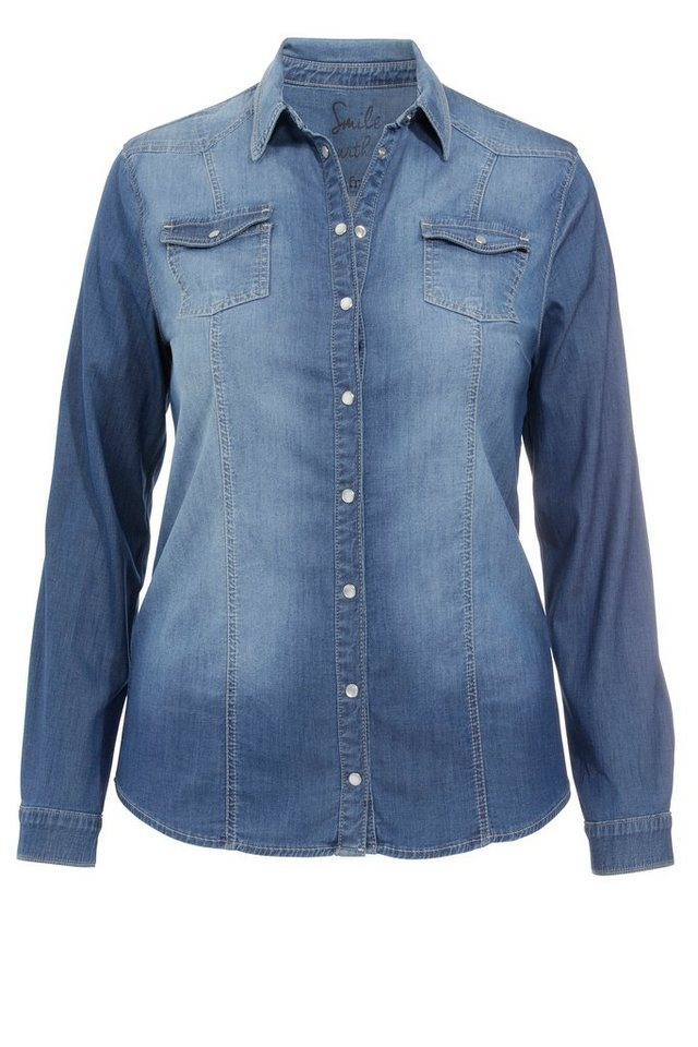 FRAPP Hemdbluse im Jeans-Look in LIGHT DENIM BLUE