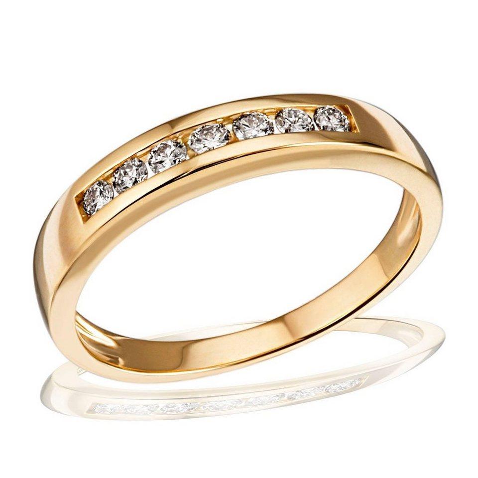 goldmaid Damenring 585/- Gelbgold Memoire 7 Brillanten in goldfarben