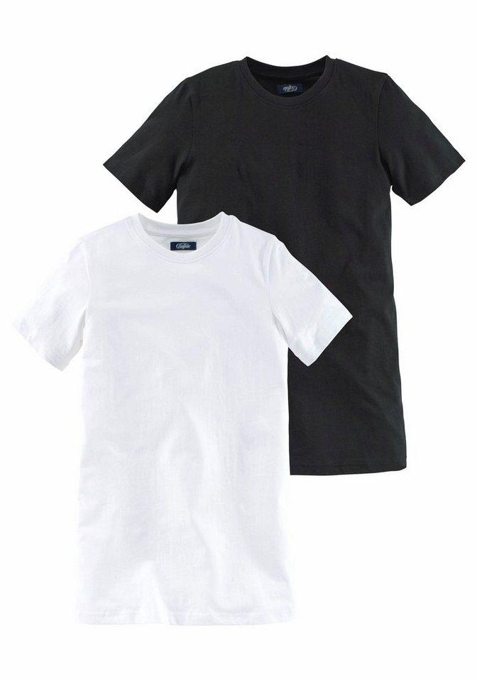 Arizona T-Shirt in modisch langer Form (Packung, 2 tlg.) in schwarz+weiß