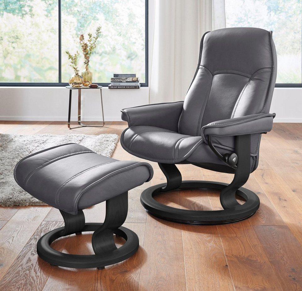 Stressless® Set: Relaxsessel mit Hocker »Senator« mit Classic Base, Größe S, mit Schlaffunktion in grey
