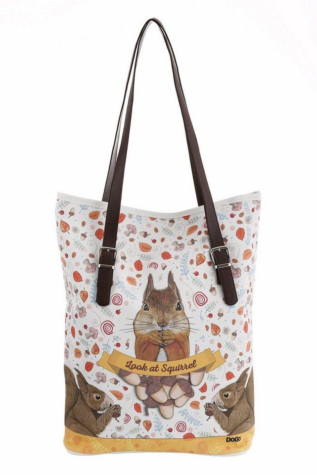 DOGO Shopper »Look at Squirrel« in weiß-braun-multi