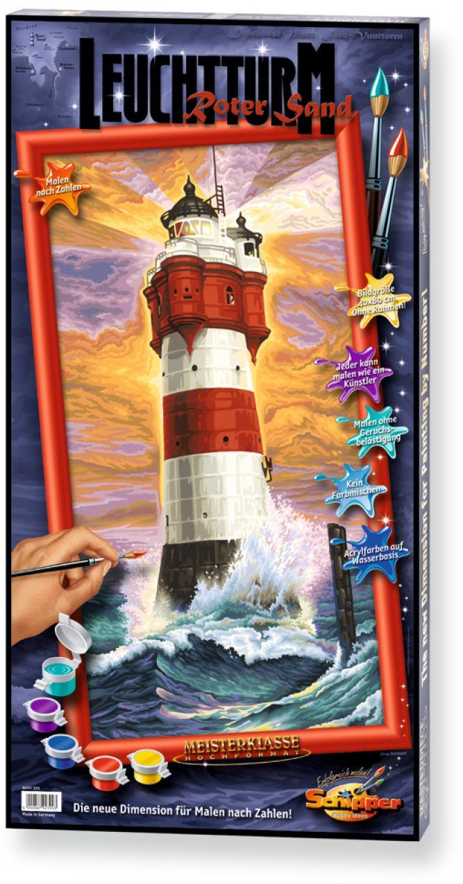 Schipper, Malen nach Zahlen, »Meisterklasse Hochformat Leuchtturm Roter Sand«