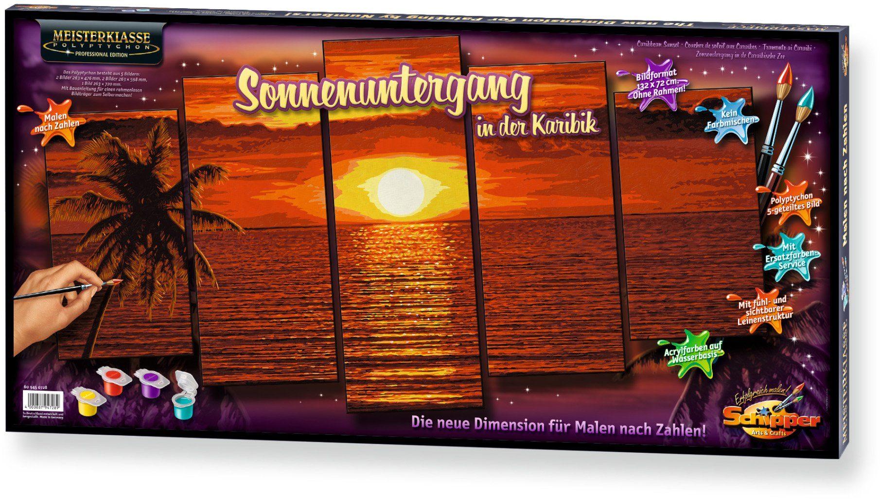 Schipper, Malen nach Zahlen, »Meisterklasse Polyptychon Profi Edition Sonnenuntergang Karibik«