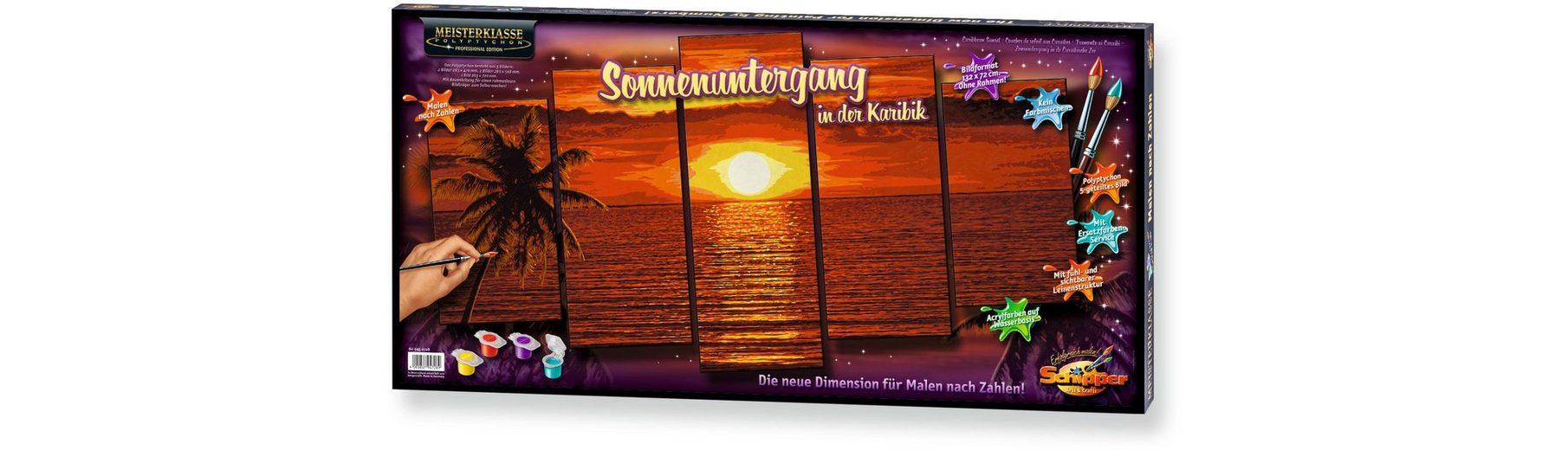 Schipper Malen nach Zahlen, »Meisterklasse Polyptychon Profi Edition Sonnenuntergang Karibik«