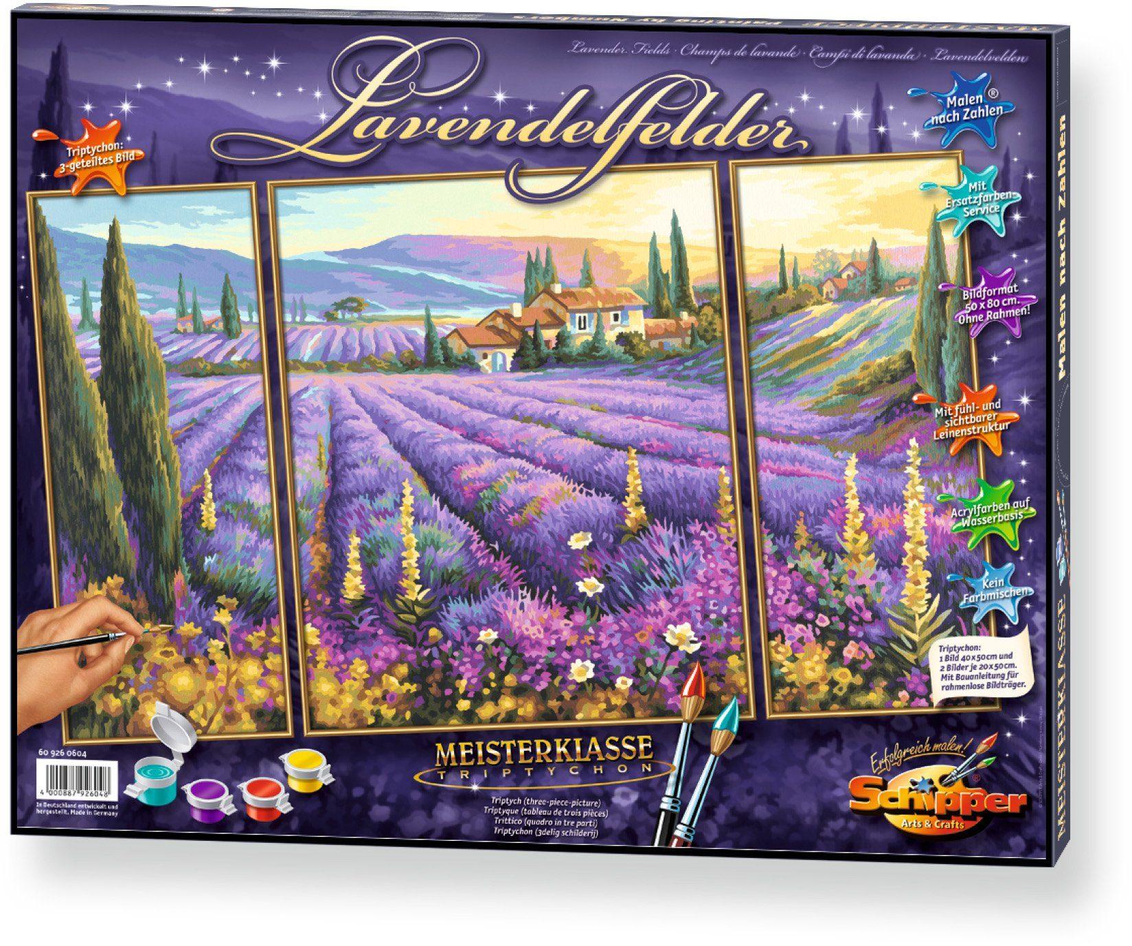 Schipper, Malen nach Zahlen, »Meisterklasse Triptychon Lavendelfelder«