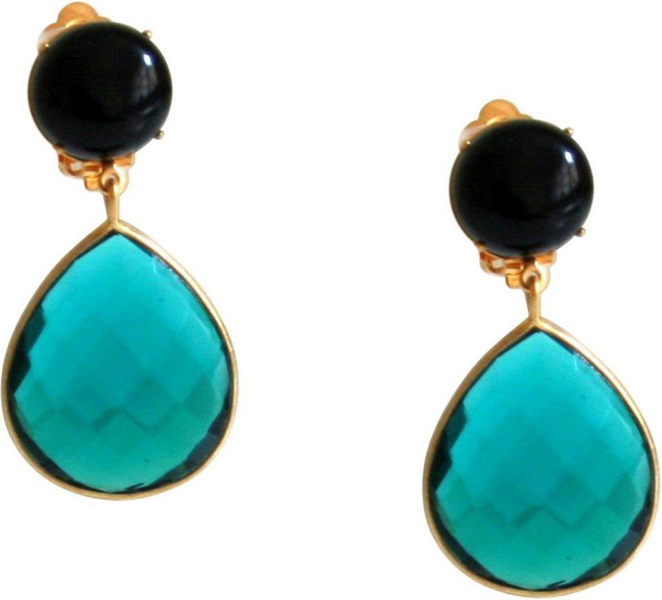 Gemshine Paar Ohrclips mit Onyx und Turmalinquarz, »Pggo5« in goldfarben vergoldet-schwarz-hellgrün