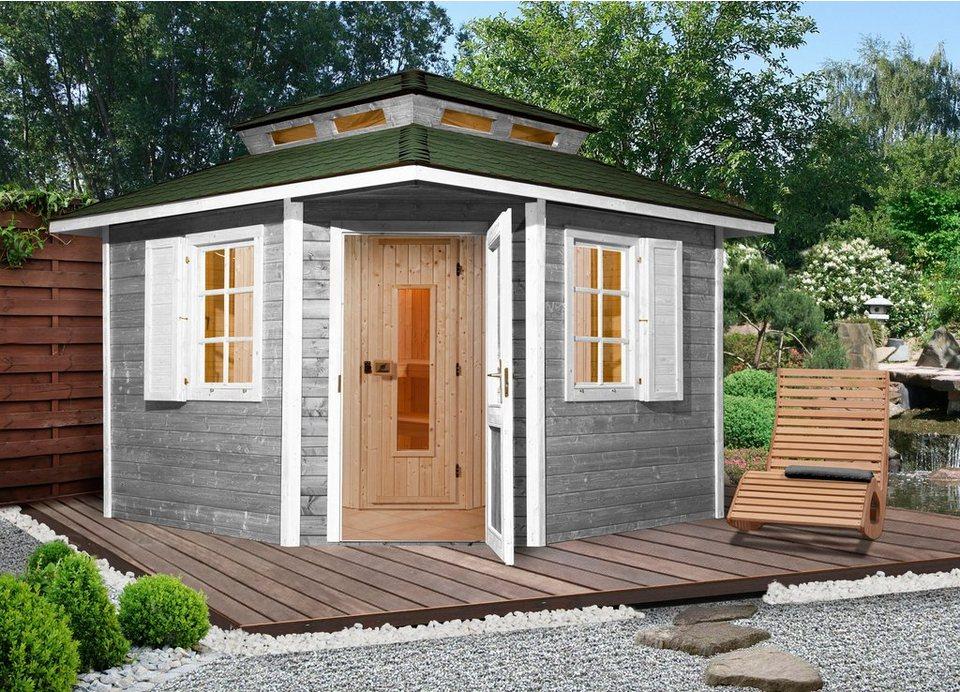 Sauna »149 OS«, 298/298/315 cm, 68 mm, 7,5 KW-Ofen in natur