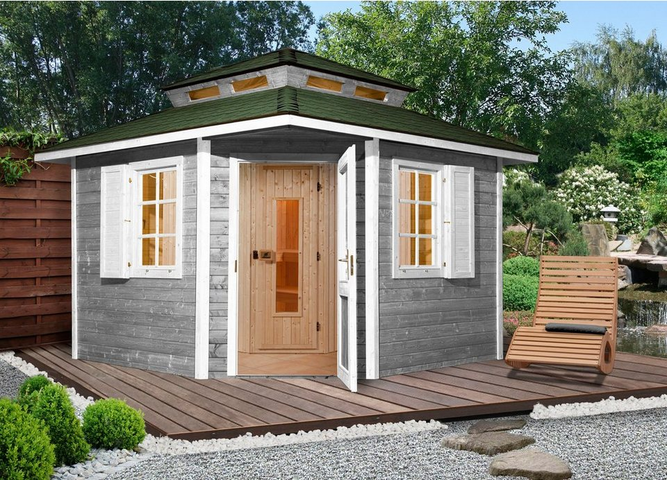 Weka Sauna »149 OS«, 298/298/315 cm, 68 mm, 7,5 KW-Ofen in natur