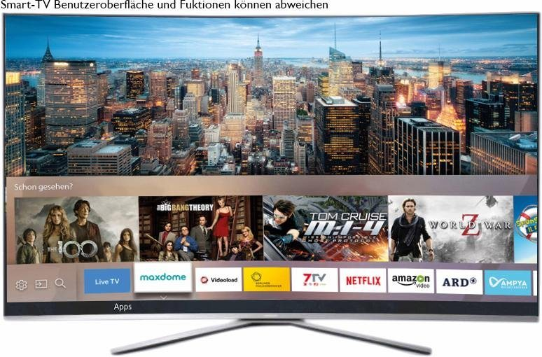 Samsung UE55KU6509UXZG, Curved-LED-Fernseher, 138 cm (55 Zoll), 2160p (4K Ultra HD), Smart-TV in silberfarben