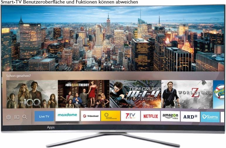 Samsung UE78KU6509UXZG, Curved-LED-Fernseher, 198 cm (78 Zoll), 2160p (4K Ultra HD), Smart-TV in silberfarben