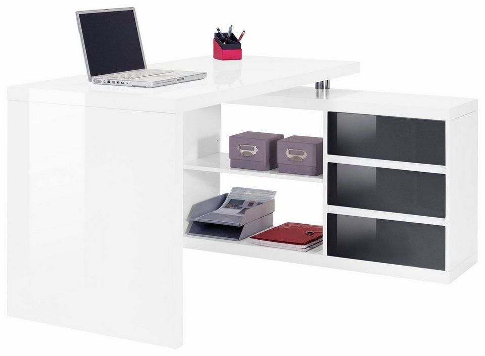 Eckschreibtisch weiß matt  Winkel-Schreibtisch, HMW, »Split«, mit 3 Schubkästen online kaufen ...