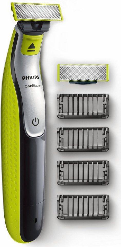 Philips Herrenrasierer OneBlade QP2530/30, Akku, Wet&Dry, 4 Aufsätze + 1 Ersatzklinge in hellgrün/dunkelgrau