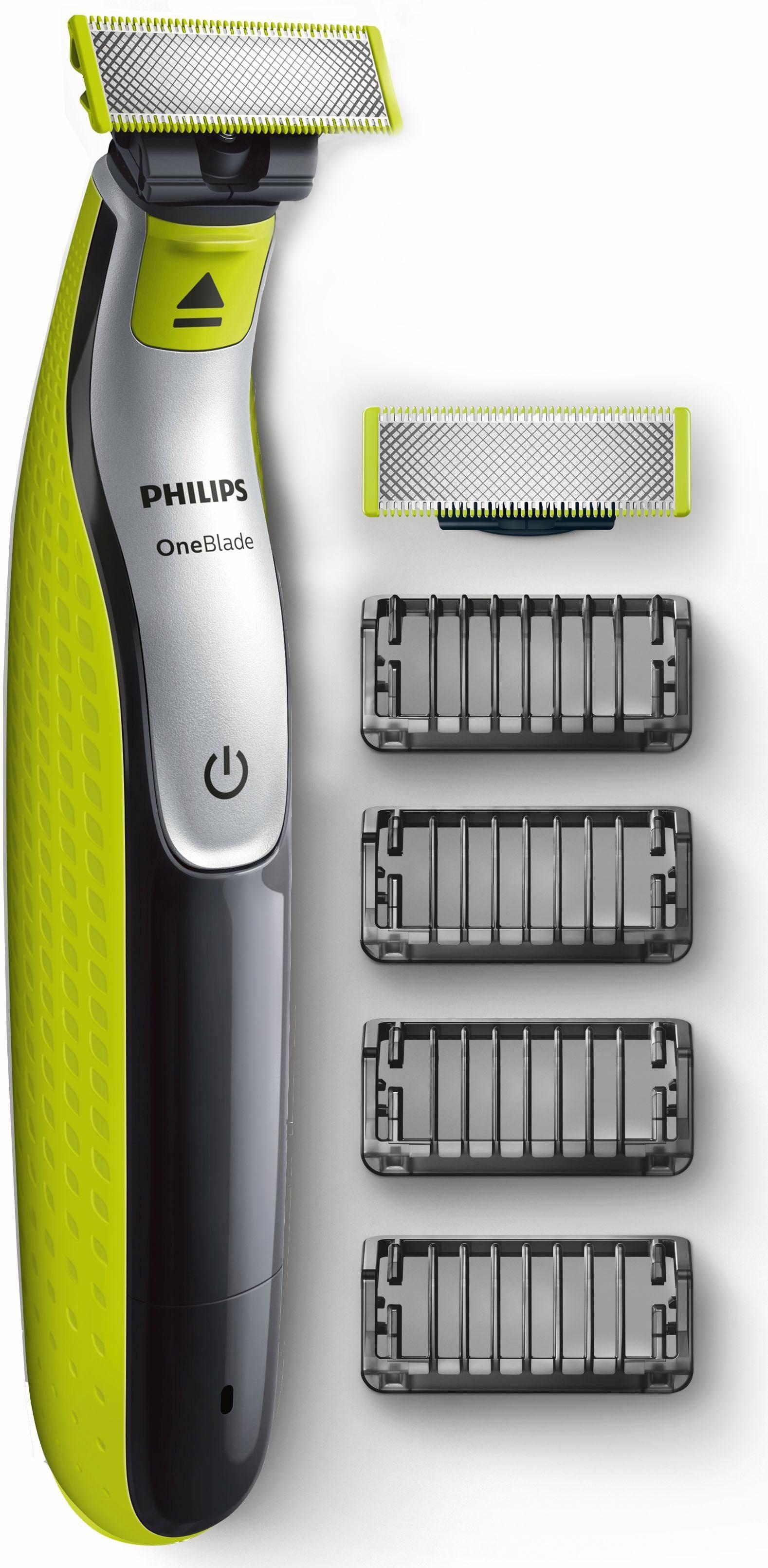 Philips Herrenrasierer OneBlade QP2530/30, Akku, Wet&Dry, 4 Aufsätze + 1 Ersatzklinge