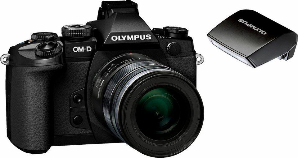 Olympus OM-D E-M1 System Kamera, M.ZUIKO DIGITAL ED 12-50 1:3.5-6.3 EZ Telezoom, 16,3 Megapixel in schwarz