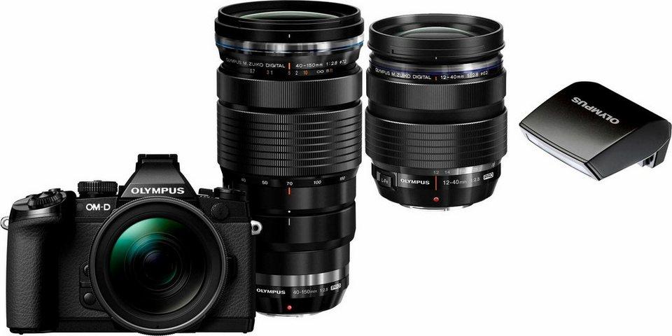 Olympus E-M1 OM-D Set System Kamera, inkl. 2 M.ZUIKO DIGITAL PRO Objektive (12-40mm & 40-150mm), 16,3 MP in schwarz