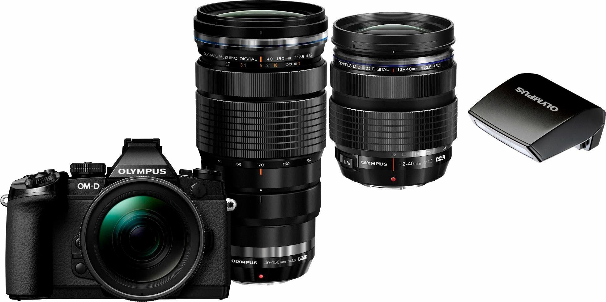 Olympus E-M1 OM-D Set System Kamera, inkl. 2 M.ZUIKO DIGITAL PRO Objektive (12-40mm & 40-150mm), 16,3 MP