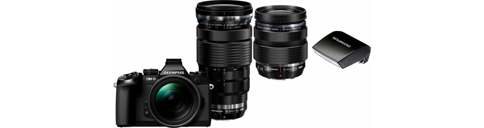 Olympus E-M1 OM-D Set System Kamera,2 M.ZUIKO DIGITAL PRO Objektive,16,3 MP,Batteriegriff(UVP229€)