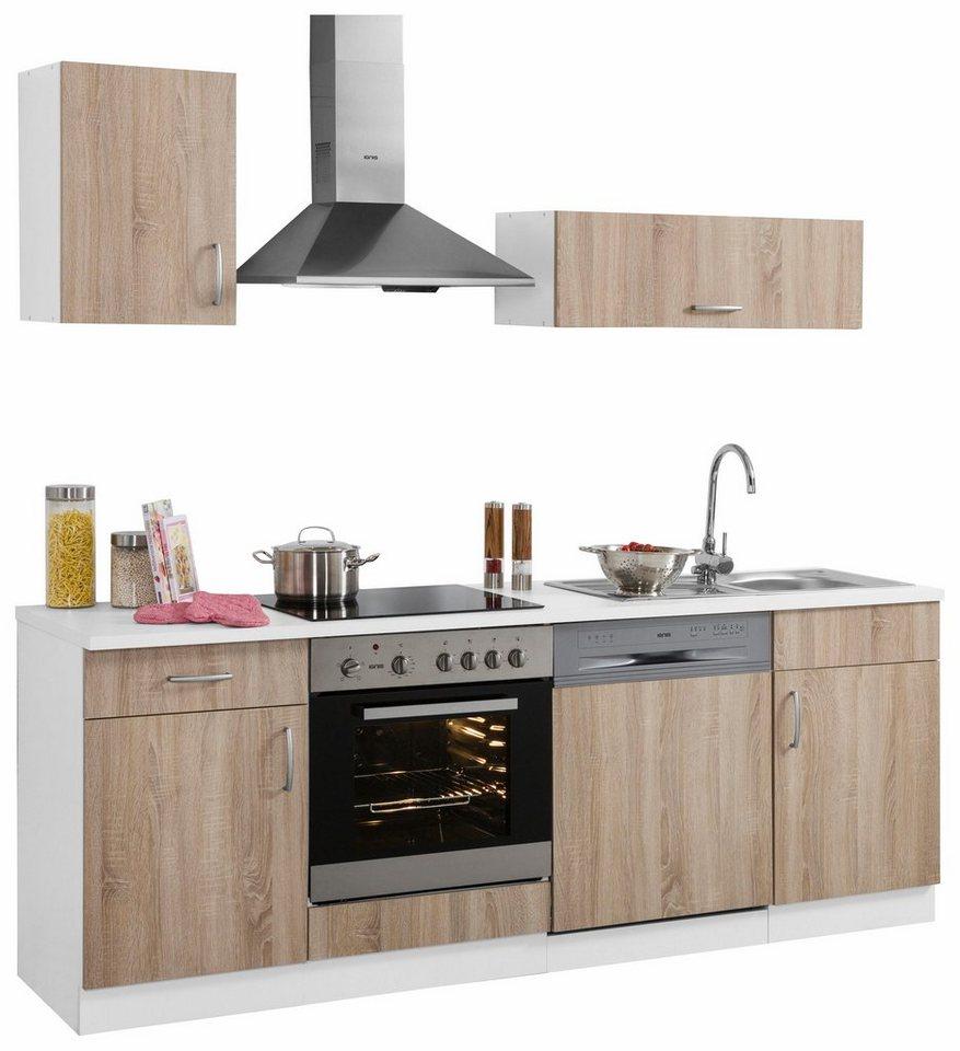 Küchenzeile »Brilon« mit E-Geräten, Breite 220 cm in eichefarben