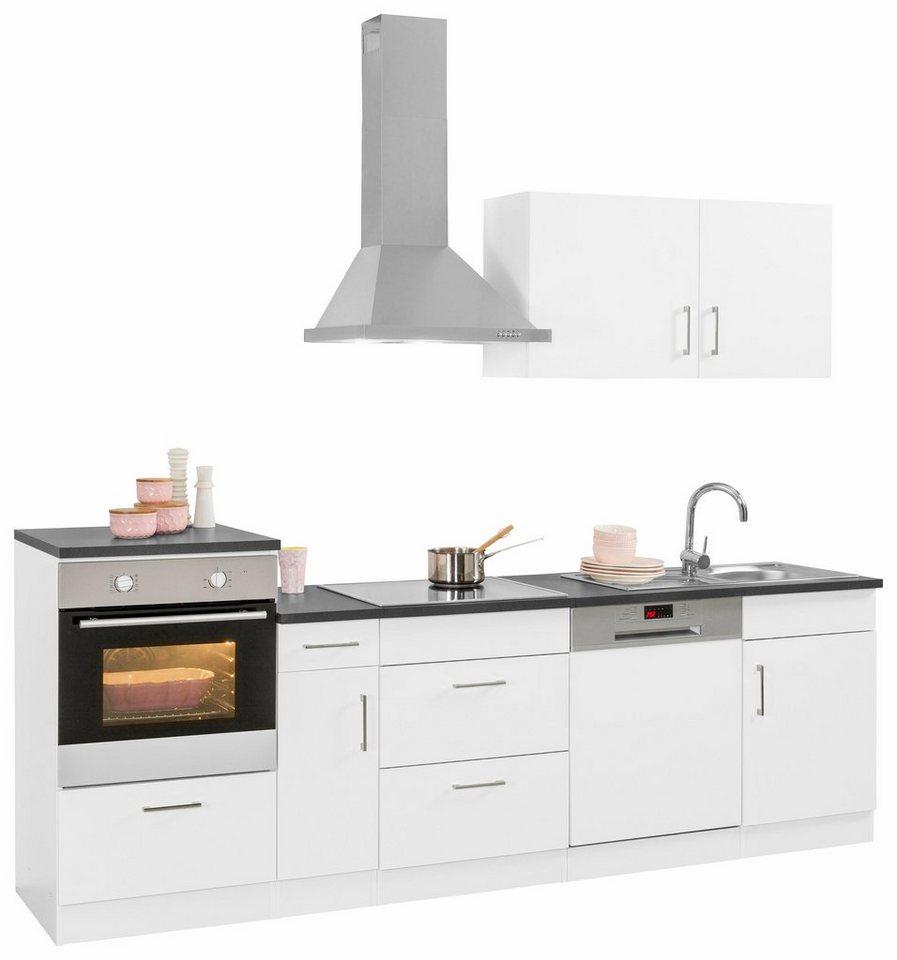 Held Möbel Küchenzeile mit E-Geräten »Tampa«, Breite 260 cm in weiß