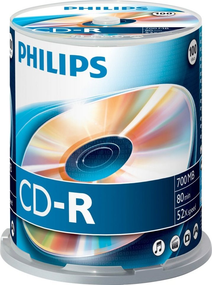 Philips CD-R 80Min/700MB/52x Cakebox (100 Disc) in silver